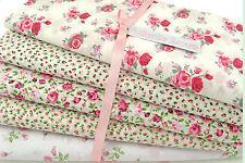 5 X Fat Quarter Fabric Bundle PINK VINTAGE FLORAL ROSE Polycotton Craft Material