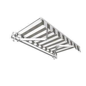 Markise Sonnenschutz Gelenkarmmarkise Handkurbel 250x150cm Grau Weiß B-Ware