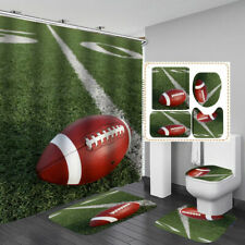 American Football Shower Curtain Bath Mat Toilet Cover Rug Bathroom Decor