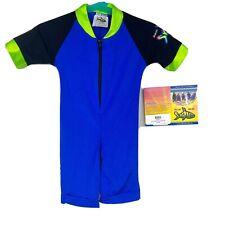Radicool Toddler Boys Girls Rash Guard Short Sleeve Body Swim Suit blue zip up