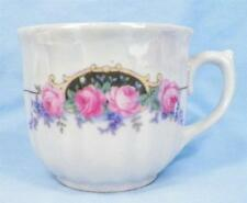 6 Pink Roses Bavaria Mugs Cups Porcelain Blue Forget Me Not Flowers Vintage NICE