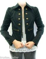 JUICY COUTURE Womens Black Skylar Military Gold Button Twill Blazer Jacket