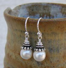 U&C Sundance Crowned White Pearls Under .925 Sterling Silver Fancy Caps Earrings