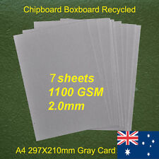 7 X A4 Chipboard Boxboard Cardboard Recycled Gray Card 1100gsm 2.0mm