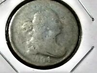 1804 HALF CENT CROSSLET FOUR STEMLESS VERY EARLY DATE LOW MINTAGE 1,055,312