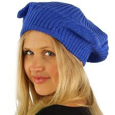 Girls Cute Warm Animal Cat Ears Ribbed Knit Beret Beanie Ski Hat Cap Tam Blue