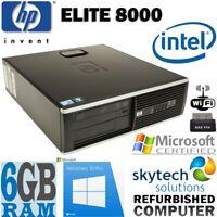 FAST HP ELITE 8000 SFF 6GB RAM CHEAP WINDOWS 10 OFFICE DESKTOP COMPUTER PC WiFi