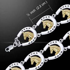 Friesian Horse in Horseshoe .925 Sterling Silver Bracelet by Peter Stone Jewelry