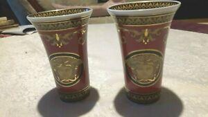 Rosenthal  /  Versace Medusa rot Vasen 2 Stück