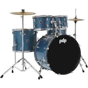 PDP by DW Encore Complete 5-Piece Drum Set Chrome Hardware Cymbals Azure Blue