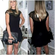 LIPSY SIZE UK 10 BLACK BEAD EMBROIDERED CHIFFON SWING DRESS BNWT @ NEXT 8824