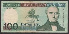 Lithuania 100 Litu 1991 VF P#50 prefix AC