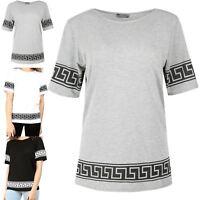 Ladies Greek Printed Short Sleeve Womens Baggy Oversize Loose Fit T Shirt Top