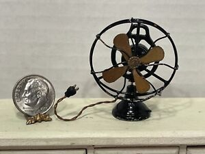 Vintage Artisan Metal Rotating Table Fan with Cord Dollhouse Miniature 1:12