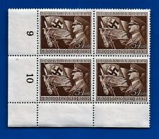 3rd Third Reich Post Nazi Germany Hitler flag eagle postage stamp block MNH B