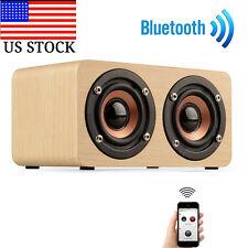 Wooden Portable Bluetooth Speaker Wireless Retro Bluetooth Speaker 3D Dual US
