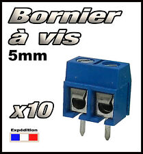 965B/10 Bornier à vis bleu 2 plots 10 pcs borniers CI -- pas 5mm