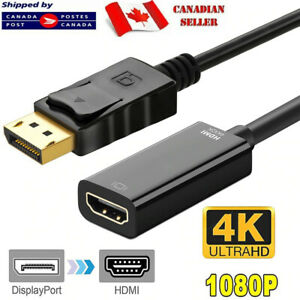DisplayPort DP Male To HDMI Female Cable Adapter Converter For 1080P HDTV PC