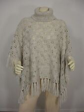 QUICKSILVER ACRYLIC WOOL BLEND TURTULE NECK FRINGES PONCHO WOMEN'S ONE SIZE