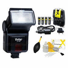 Digital Slave Flash +Batteries + Charger for Nikon D3300 D3100 D3200 D5300