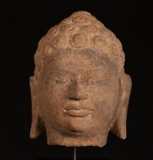 "18th Century Thai Dvaravati Stone Buddha Head Statue - 23cm/9"""