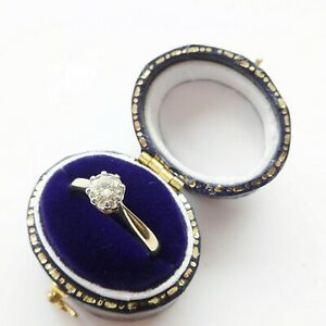 Vintage Solitaire Diamond Engagement Ring HALF 1/2 Carat 0.50 18ct Gold Platinum