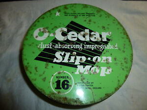 Vintage O-CEDAR SLIP-ON MOP Tin Number 16 *with mop* Retro Household Advertising