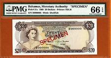 Bahamas QEII $20 Specimen 1968 Pick-31s Gem UNC PMG 66 EPQ