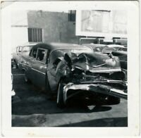 1950s Smashed Car in Auto Yard Snapshot - Wrecked Automobile