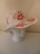 NEW LADIES WHITE PINK FLORAL COWBOY HAT HEN PARTY SUMMER HOLIDAY STRAW SUN HAT