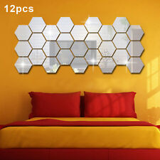 12 Pcs/Set Nice 3D Mirror Geometric Hexagon Acrylic Wall Sticker Decor Art DIY