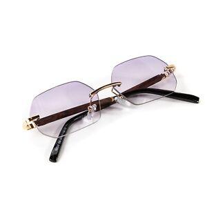 Light Purple Tint Gradient Frameless Buffs Woodgrain Hip Hop Rimles Sunglasses