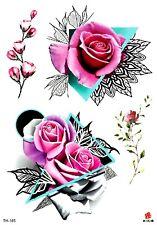 "US SELLER, rose flower 8.25"" large arm temporary tattoo body arts tattoo"