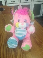 Vintage 1986 Plush Pink Popples Cribsy Striped Bonnet & Bib Rattle Tail