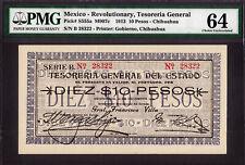 Mexico - Revolutionary 10 Pesos Chihuahua 1913 Pick-S555a CH UNC PMG 64