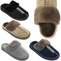 NEW MENS WARM WINTER SLIPPERS MULES FLEECE LOAFERS SHOES SLIDERS UK 4 5 6 7 8 9