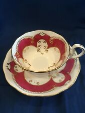 CROWN STAFFORDSHIRE BIRKS ELLIS RYRIE CUP SAUCER DEEP PINK WIDE MOUTH