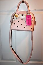 Pink Betsy Johnson Purse With Golden Hearts and Floral bow