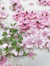 60 Mix Design Pink Tone Satin Ribbon Flower Rose/Leaf Applique/Pearl/Craft F75