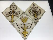 ARTS & CRAFTS / GOTHIC HAND PAINTED STAINED GLASS QUARRY FROM A CHURCH WINDOW. F
