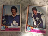 1974-75 O-Pee-Chee OPC #198 Jim McKenny & #81 Rick Kehoe Toronto MAPLE leafs