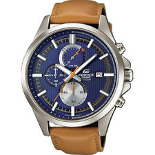 New! Casio Edifice Brown Leather Strap Blue Dial EFV-520L-2AVUEF Mens Watch