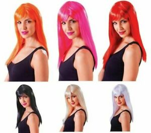 Ladies Fancy Dress Wig Passion Party Wig Halloween Witch Red Devil White Pink Or