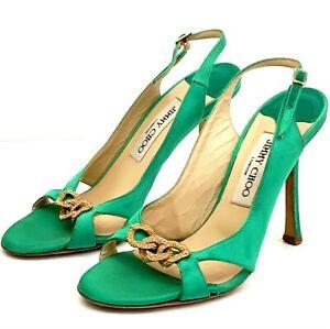 JIMMY CHOO Green Emerald Satin Gold Chain Link High Heel Sandals EUR 37.5 UK4.5