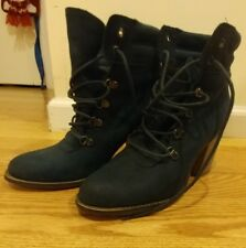 Steve Madden Blue Suede Loolaa  lace up boots booties block heel size 10