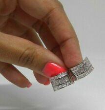 Diamond Hoop Earrings 14k White Gold Huggies Round (1/4 Carat)