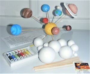 Make Your Own SOLAR SYSTEM Set STEM Homework Kit 12 Planets 8 Paints Ring Rods