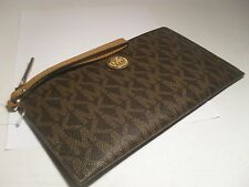 NWT MICHAEL KORS PVC Fulton Large Zip Clutch Wristlet MK Wallet Brown Acorn