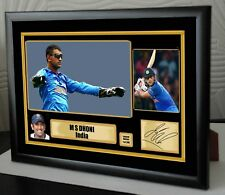 M S DHONI INDIA Limited Edition Signed Tribute Framed Canvas Great Gift/Souvenir