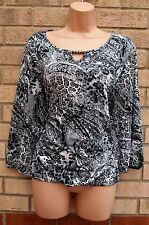 ALEXARA GREY WHITE BLACK ANIMAL ABSTRACT PRINT LYCRA RARE BLOUSE TOP TUNIC 20